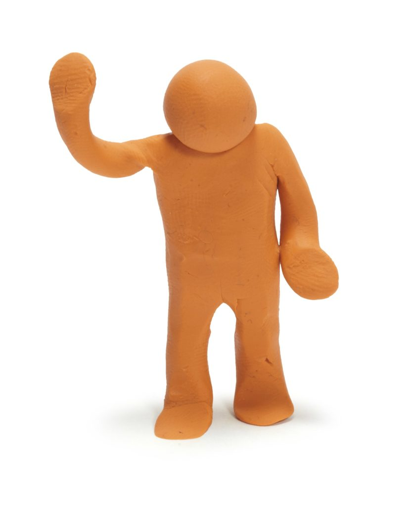Plasticine man with hand up